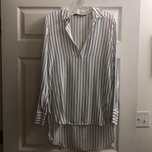 Zara Striped High-Low Blouse